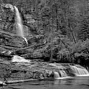 Virgnia Falls Pool - Black And White Art Print