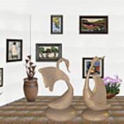 virtual exhibition_Statue of swans 22 Art Print
