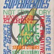 Virtues Of A Superhero Art Print