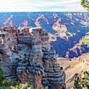 Visitors Dwarfed By Grand Canyon Vista Art Print