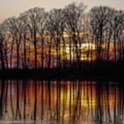 Vivid Sunset On The Lake In Olney Art Print
