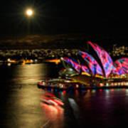 Vivid Sydney Under Full Moon Art Print
