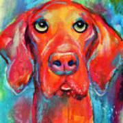 Vizsla Dog Portrait Art Print