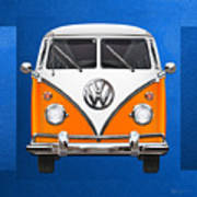 Volkswagen Type - Orange And White Volkswagen T 1 Samba Bus Over Blue Canvas Art Print by Serge Averbukh