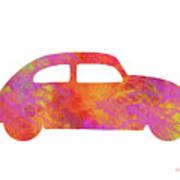 Volkswagom Beetle Art Flames Art Print