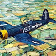 Quiet Sky - Vought F4u-1d Corsair Art Print