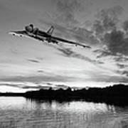 Vulcan Low Over A Sunset Lake Sunset Lake Bw Art Print