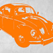 Vw Beetle Orange Print by Naxart Studio