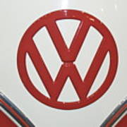 Vw Emblem In Red Art Print