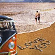Vw Love On Beach Art Print