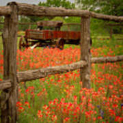 Wagon In Paintbrush - Texas Wildflowers Wagon Fence Landscape Flowers Art Print