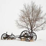 Wagon In The Snow Art Print