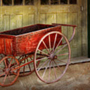 Wagon - That Old Red Wagon  Art Print