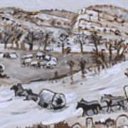 Wagon Train Crossing River Art Print