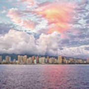 Waikiki Beach Sunset Art Print