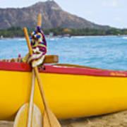 Waikiki Canoe Paddles Art Print
