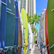 Waikiki Surfboards Art Print