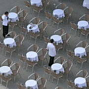 Waiters At Empty Cafe Terrace On Piazza San Marco Art Print