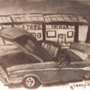 Waiting For Service- Sephia Art Print