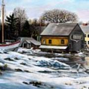 Essex Boatyard, Winter Art Print