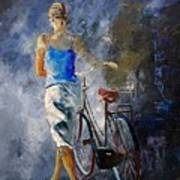 Waking Aside Her Bike 68 Art Print