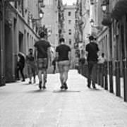 Walking In Barcelona Art Print