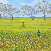 Walking In The Mustard Field Art Print