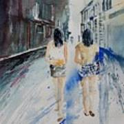 Walking In The Street Art Print