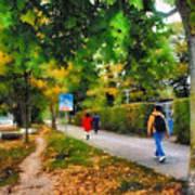 Walking On A Beautiful Path Art Print