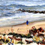 Walking The Beach On Long Beach Island Art Print