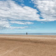 Walking The Dog On The Beach Art Print