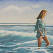 Walking The Surf Art Print