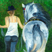 Walking To The Stable Art Print