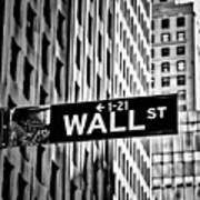Wall St Sign New York In Black And White Art Print
