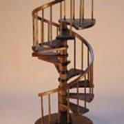 Walnut Spiral Staircase  Art Print by Don Lorenzen