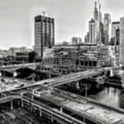 Walnut Street City View In Black And White Art Print