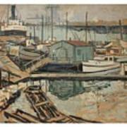 Walter  E  Schofield 1867-1944 Dock With Shed Art Print