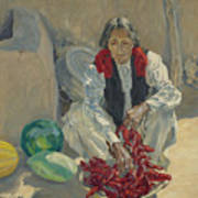 Walter Ufer 1876-1936 Stringing Chili Peppers Art Print