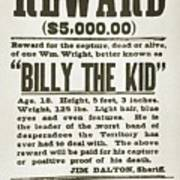 Wanted Poster For Billy The Kid Art Print by Everett