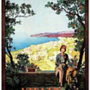 Warazze, Savona, Italy, Woman On Hotel Terrace Art Print