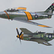 Warbirds Heritage F-86 Sabre And P-51 Mustang Art Print