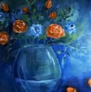 Warm Blue Floral Embrace Painting Art Print