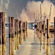 Warm Reflections In The Marina Art Print