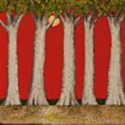 Warm Sky, Cool Trees Art Print