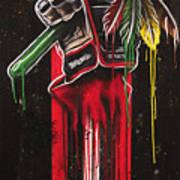 Warrior Glove On Black Art Print