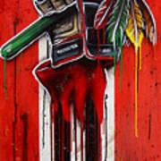 Warrior Glove On Red Art Print