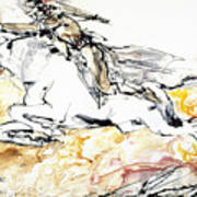 Warrior On White Horse Art Print