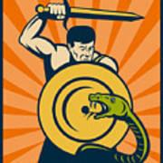 Warrior With Sword Serpent Art Print