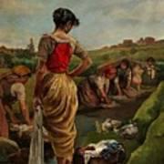 Washerwomen In Candas Asturias Amoros Botella, Antonio Art Print
