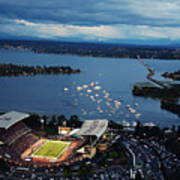 Washington Aerial View Of Husky Stadium Art Print